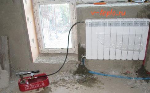 процесс опрессовки системы отопления