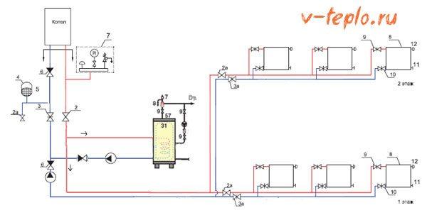 схема двухнасосной системы бойлера косвенного нагрева