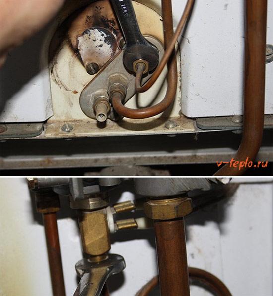 снятие термопары с газового котла
