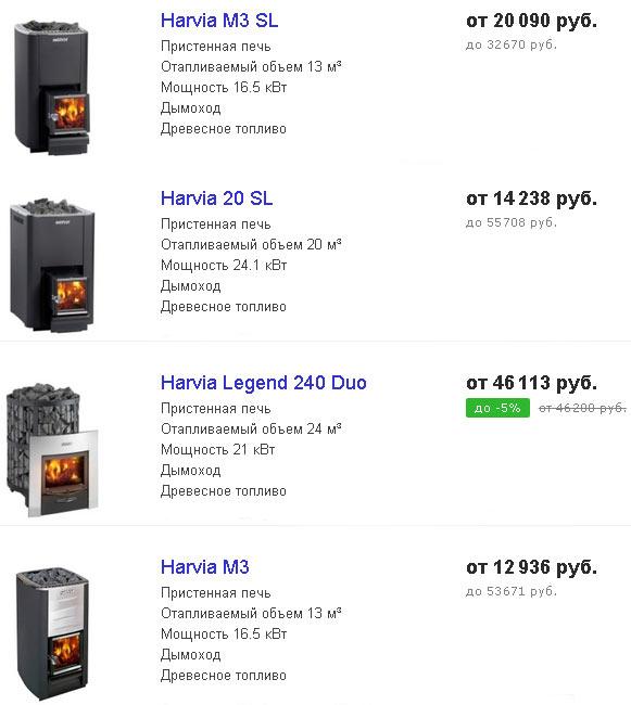 модельный ряд и цены на печи harvia