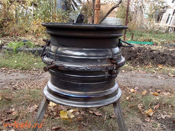 Печь для казана из автомобильных дисков