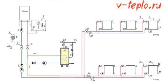 схема подключения бойлера с двумя насосами