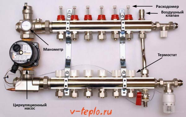 схема коллектора для теплого пола