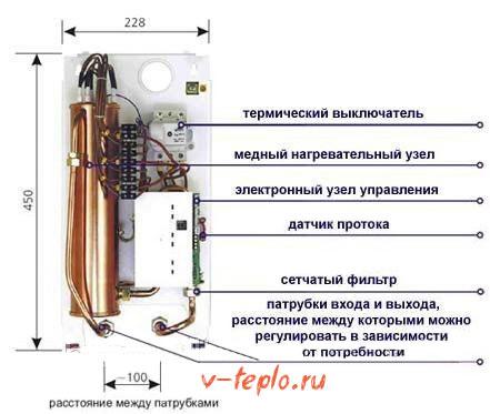 схема электрического нагревателя воды