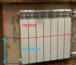 Почему низ у батареи холодный, а верх горячий ?