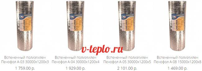 цены на фольгированный пенофол