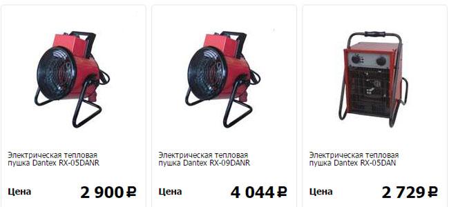 Цены на электрические тепловые пушки