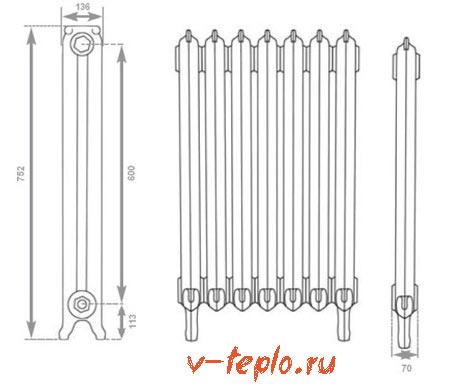 схема устройства чугунного радиатора