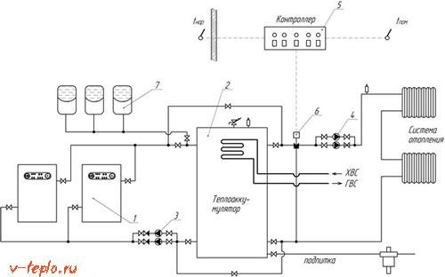 подробная схема подключения теплового аккумулятора