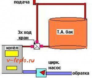 схема подключения теплового аккумулятора
