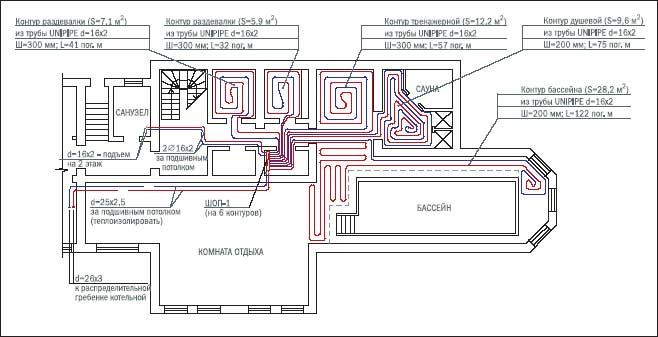 чертеж проекта для укладки труб водяного пола