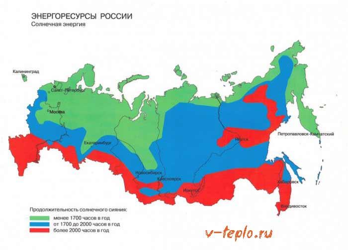 распределение тепла по территории России